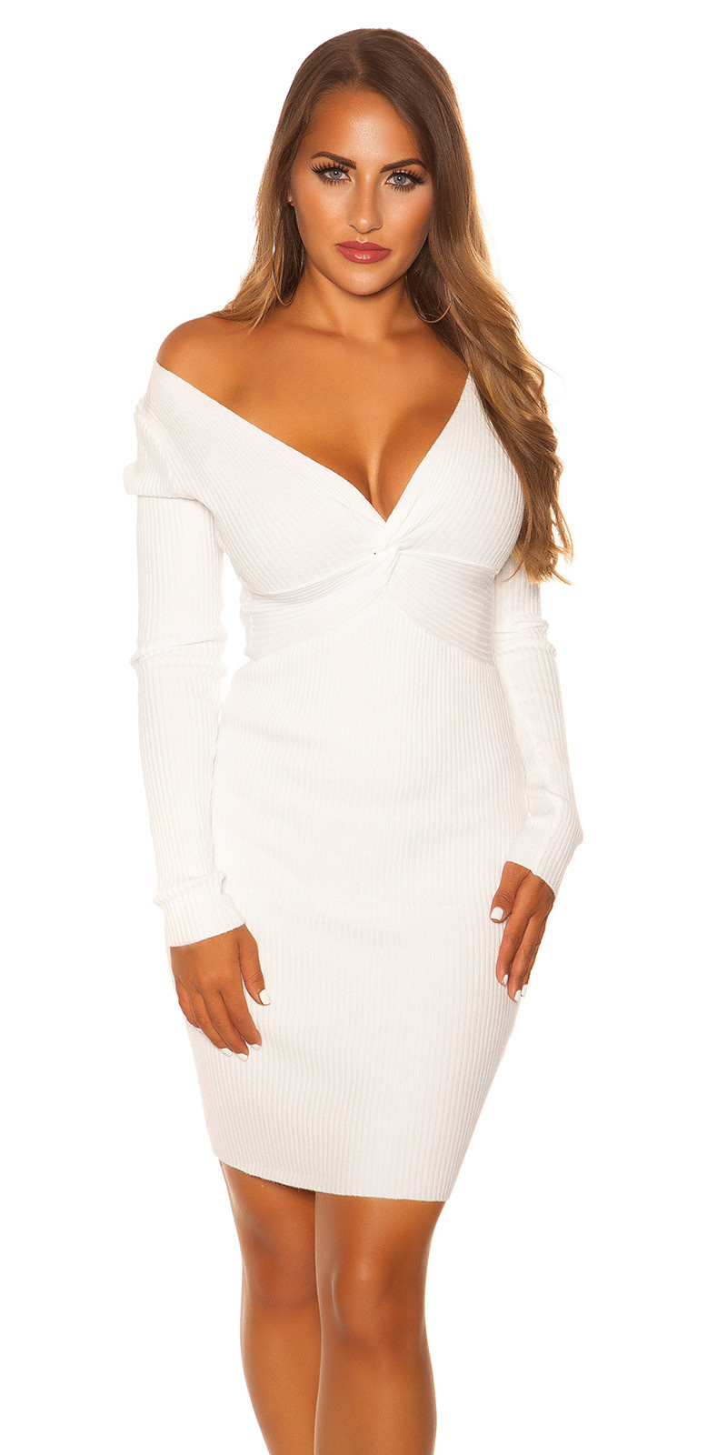 Sexy V Cut Knit Dress Cream