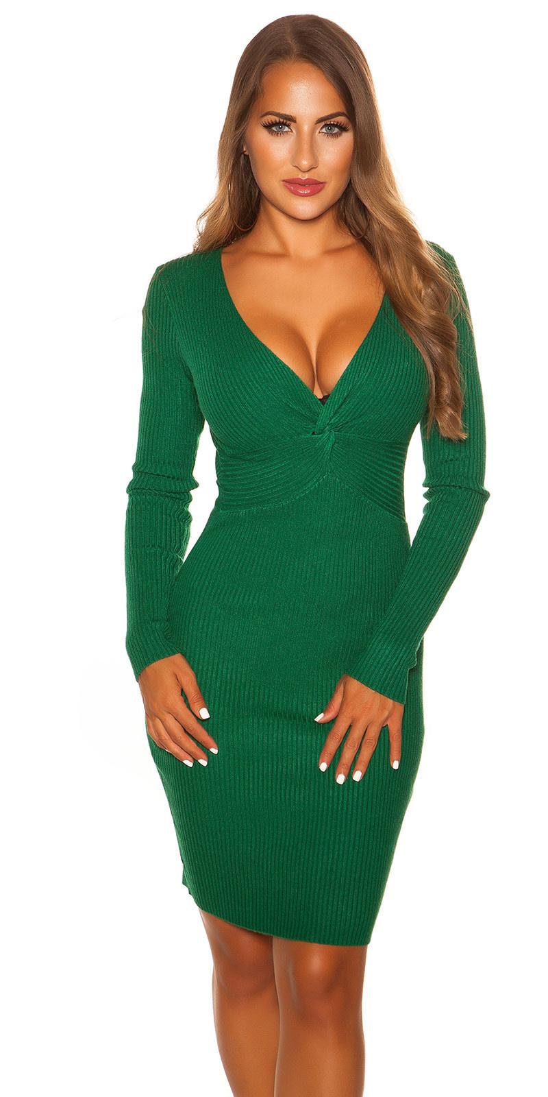 Sexy V Cut Knit Dress Green