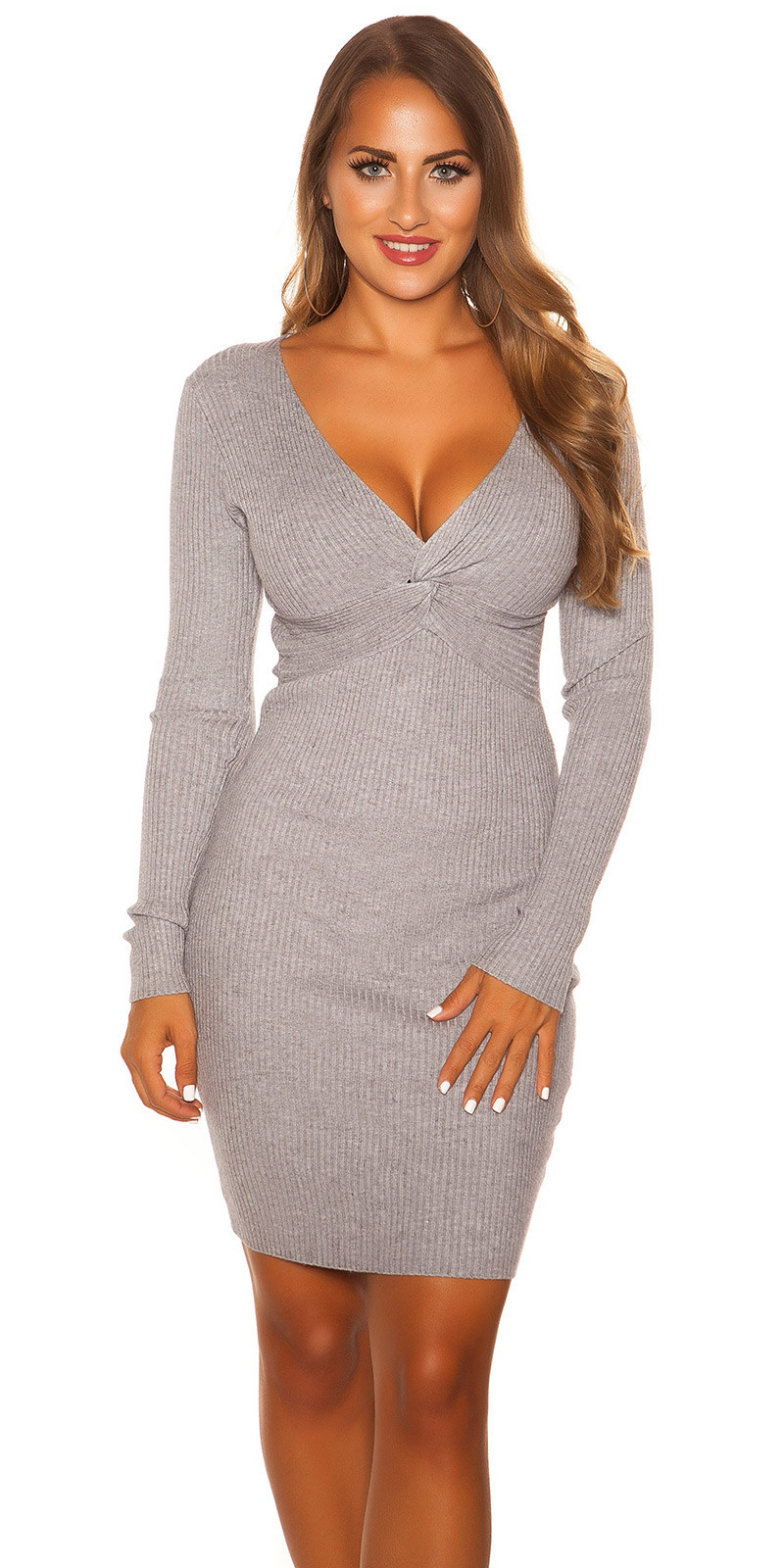 Sexy V Cut Knit Dress Grey