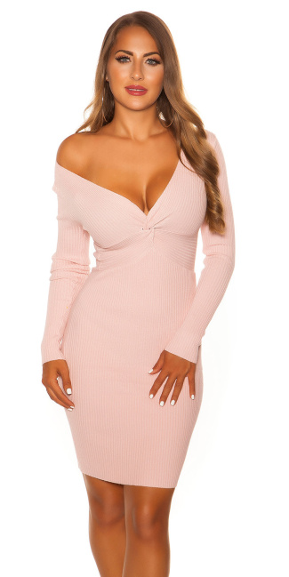 Sexy V Cut Knit Dress Pink
