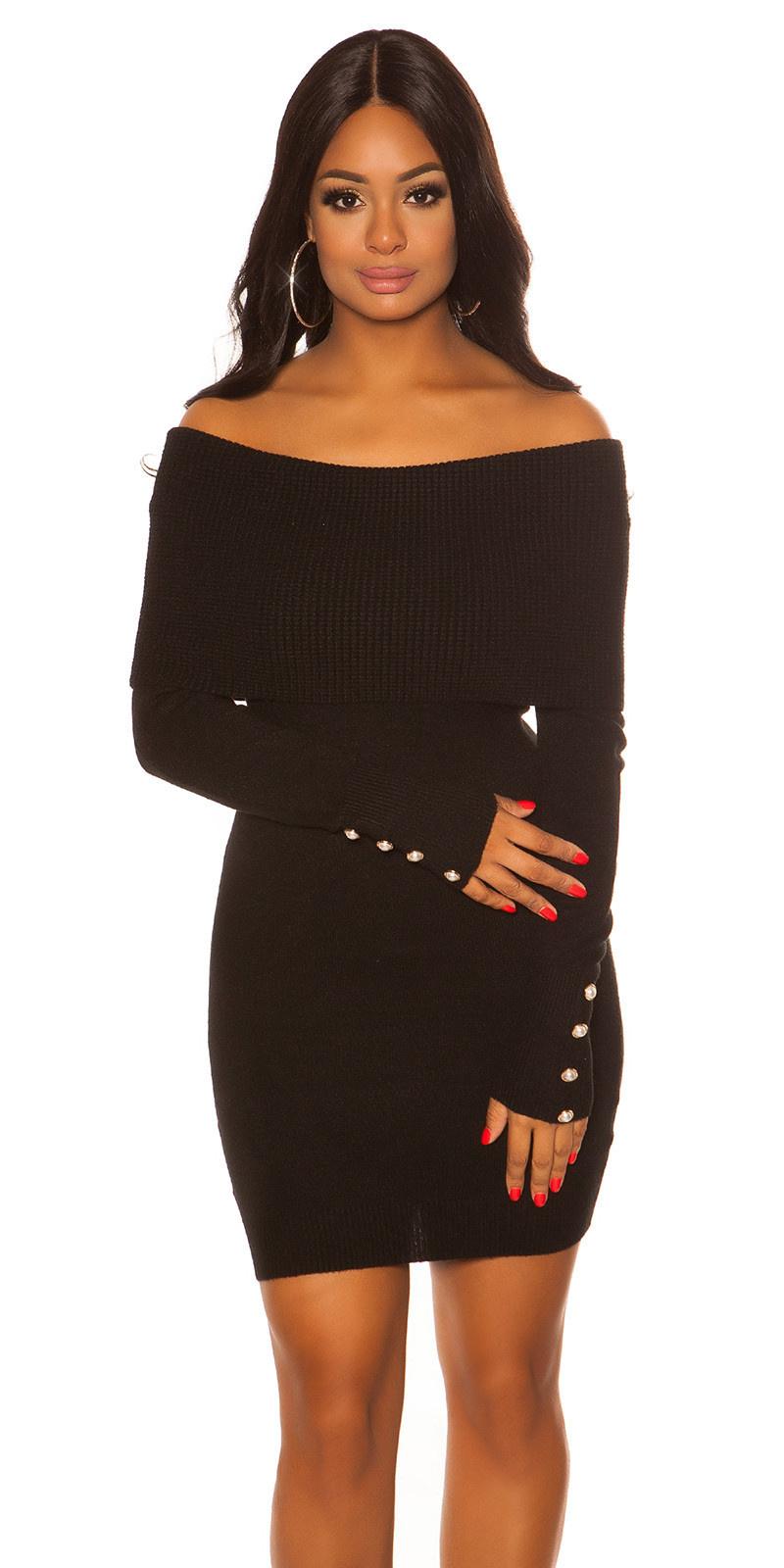 Sexy gebreide jurk met xxl-kraag & knoppen zwart