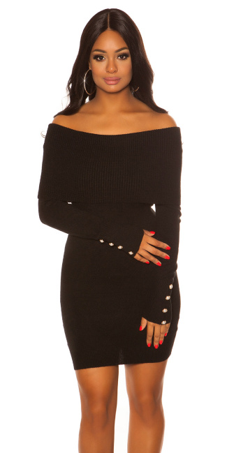 Sexy knit dress with XXLcollar & Buttons Black