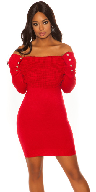 Sexy knit dress with XXLcollar & Buttons Red