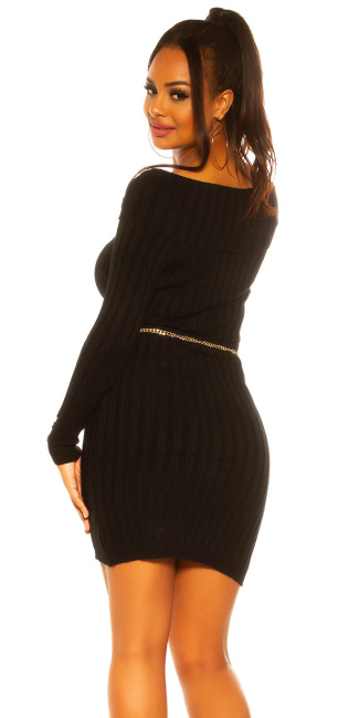 Sexy knit dress with XXL collar Black