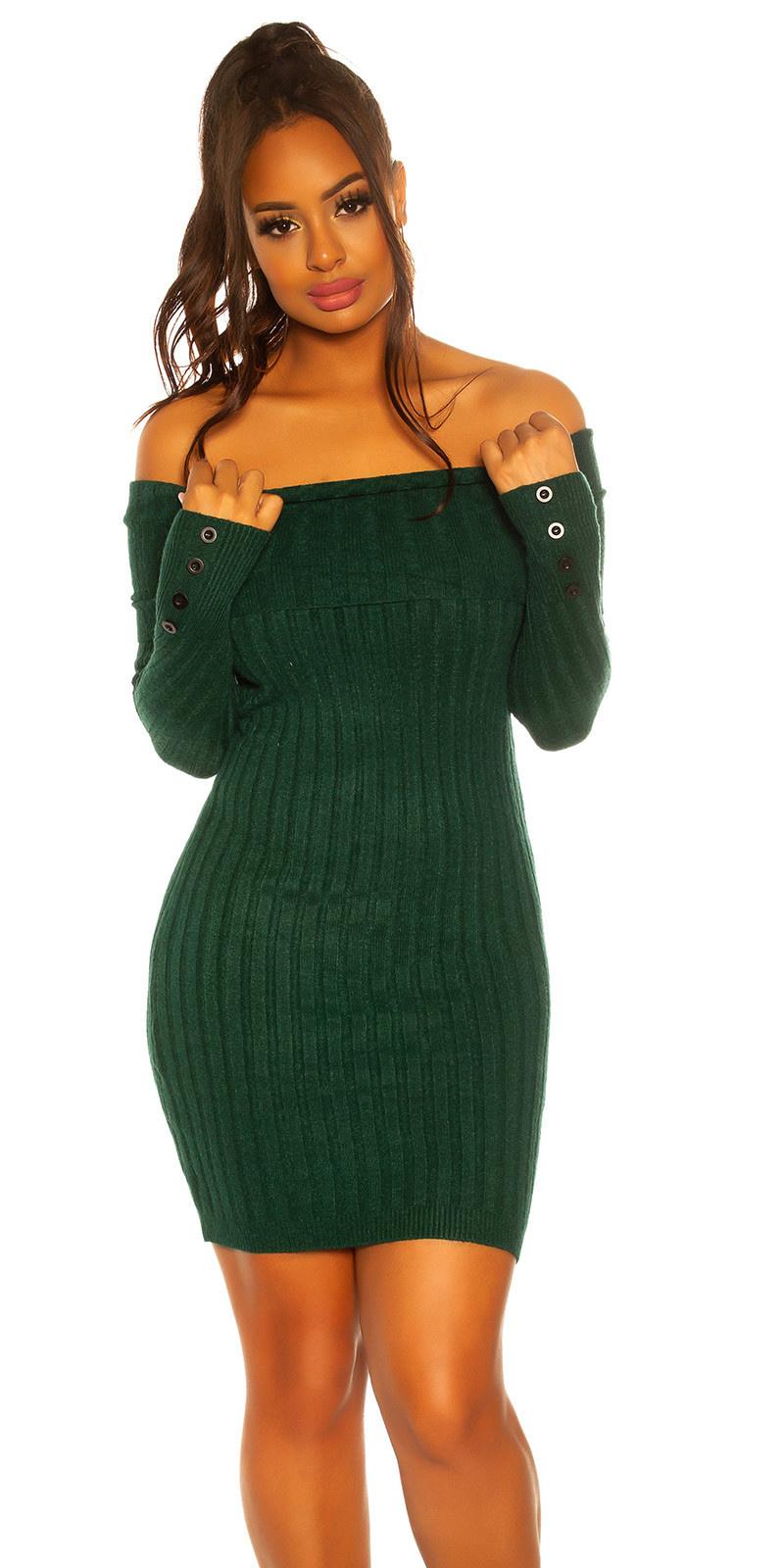 Sexy knit dress with XXL collar Green