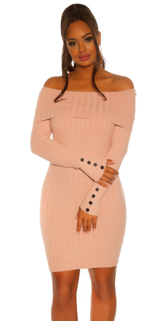 Sexy knit dress with XXL collar Pink