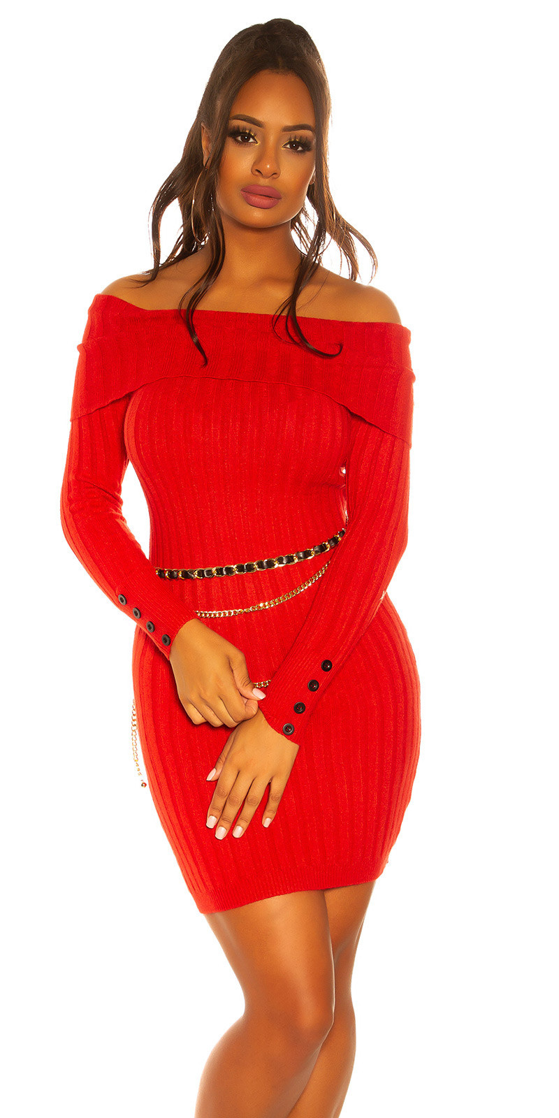 Sexy knit dress with XXL collar Red
