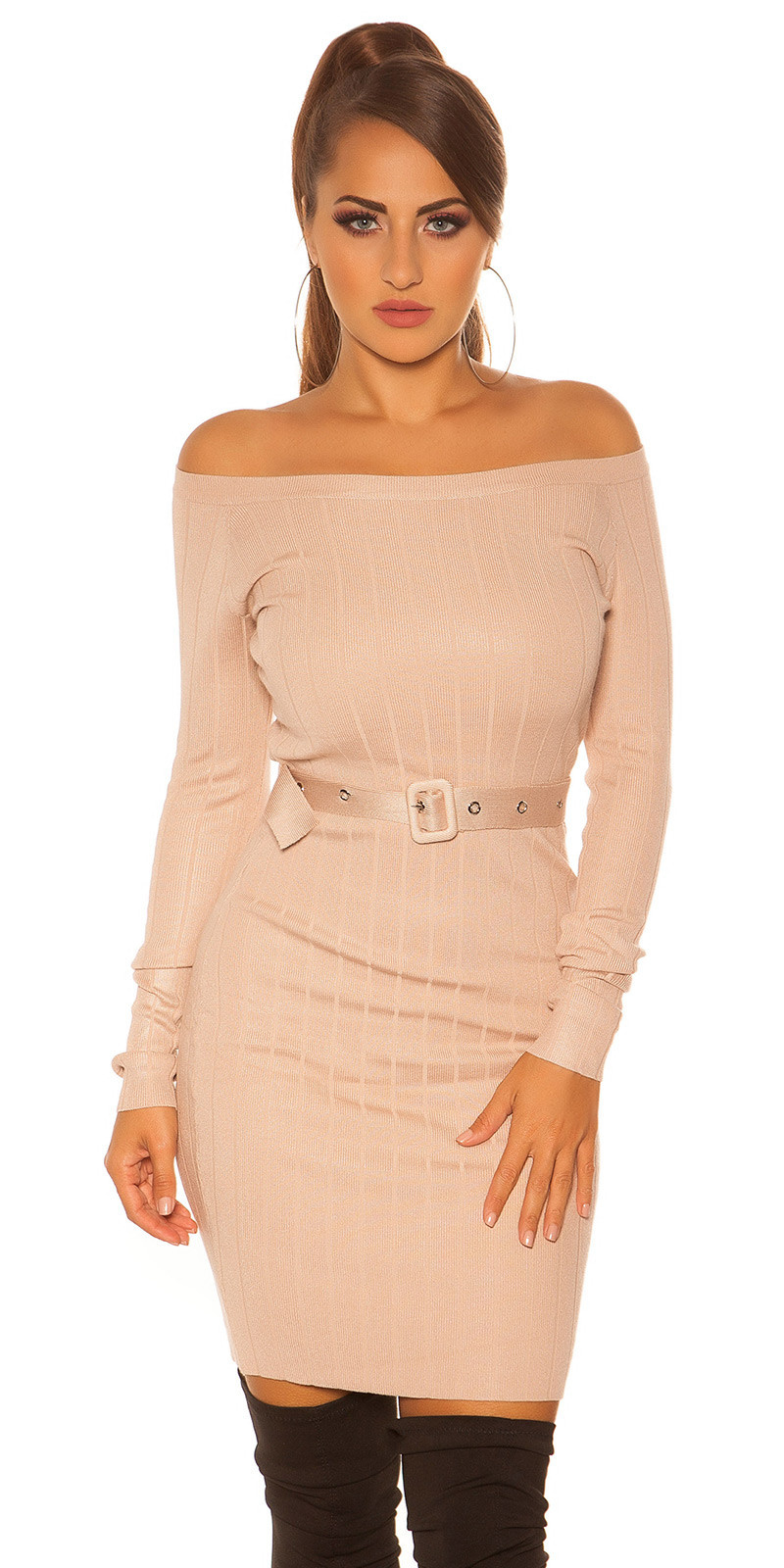 Sexy rib knit mini dress with belt Beige