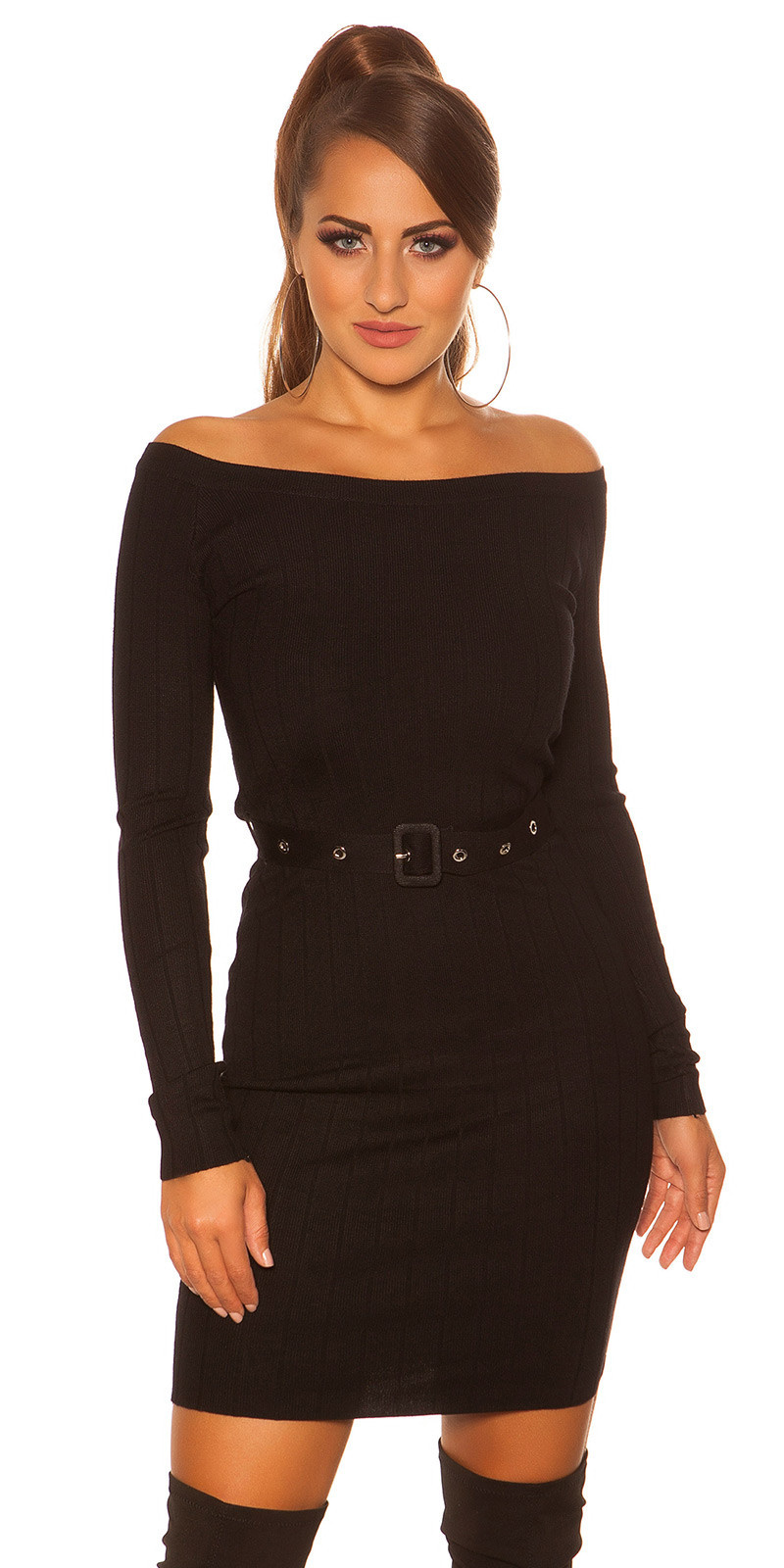 Sexy rib knit mini dress with belt Black