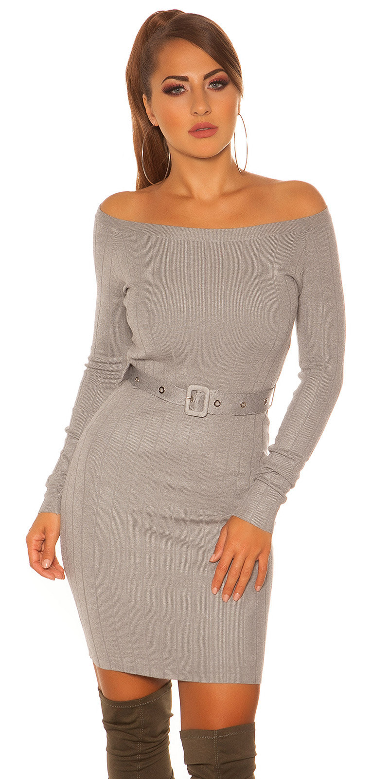 Sexy rib knit mini dress with belt Grey