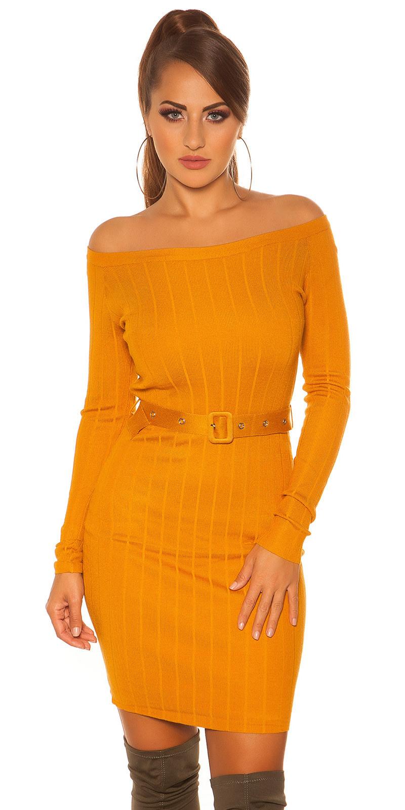 Sexy rib knit mini dress with belt Mustard