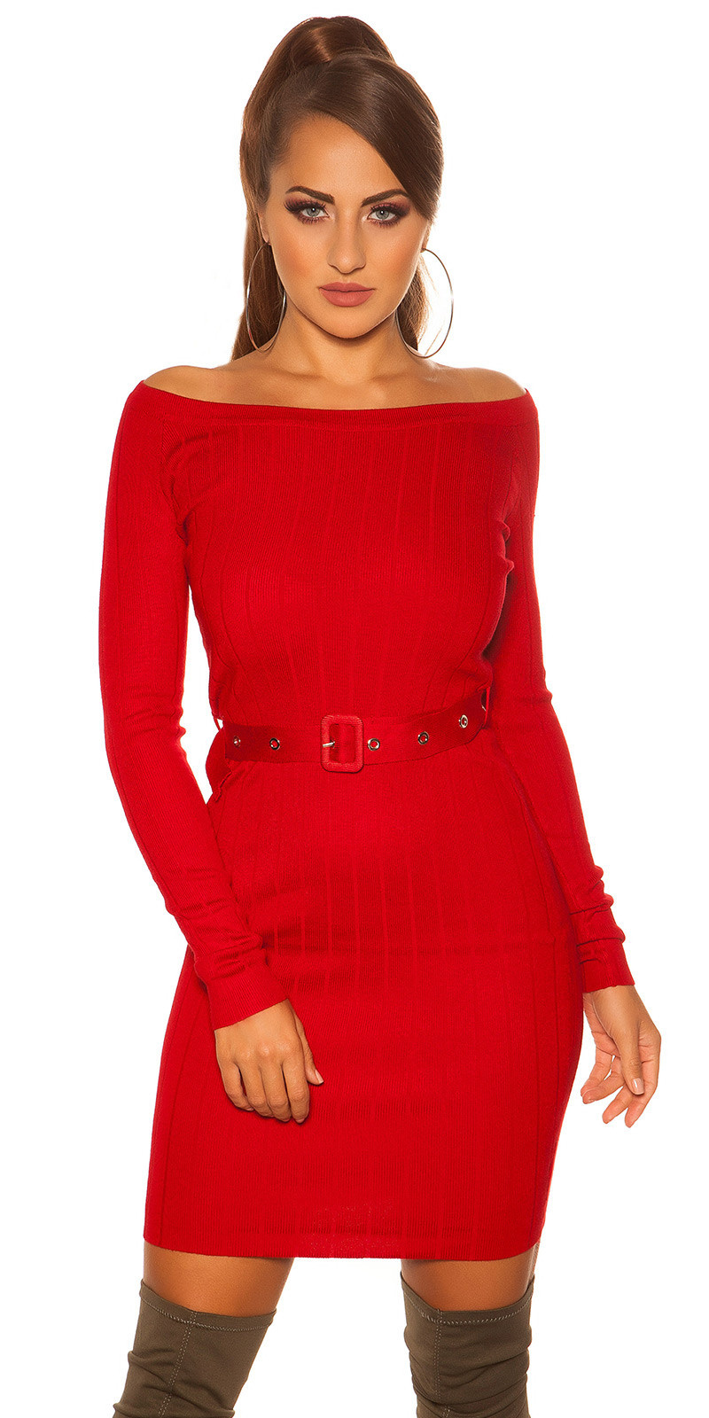Sexy rib knit mini dress with belt Red