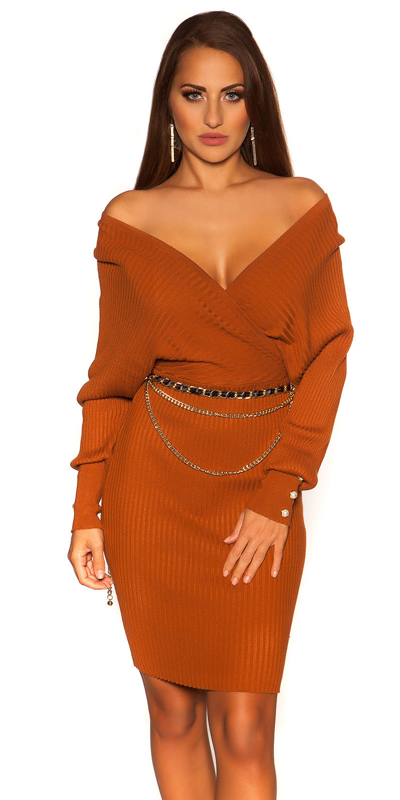 Sexy long sleeve knit dress wrap look Bronze