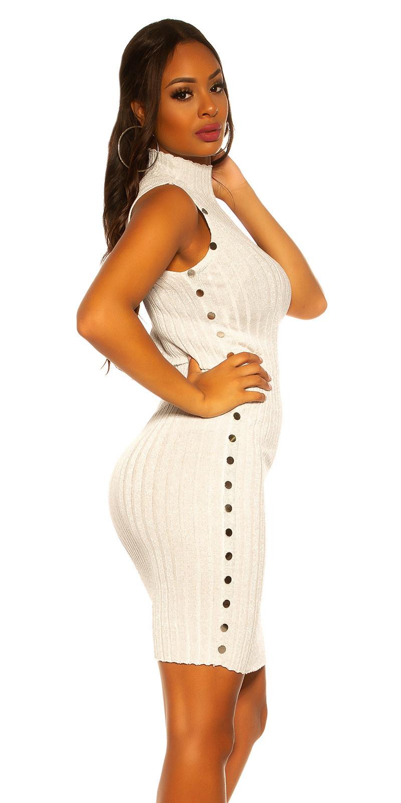 Sexy col gebreide jurk met lurex creme-kleurig
