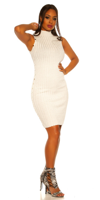SexyTurtleneck knit dress with lurex Cream