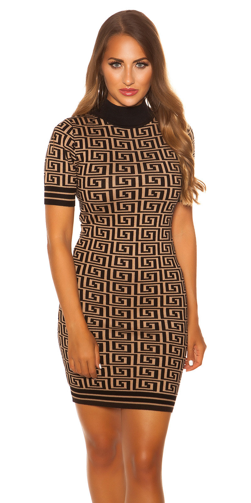 Sexy short sleeve knit dress with pattern Beige