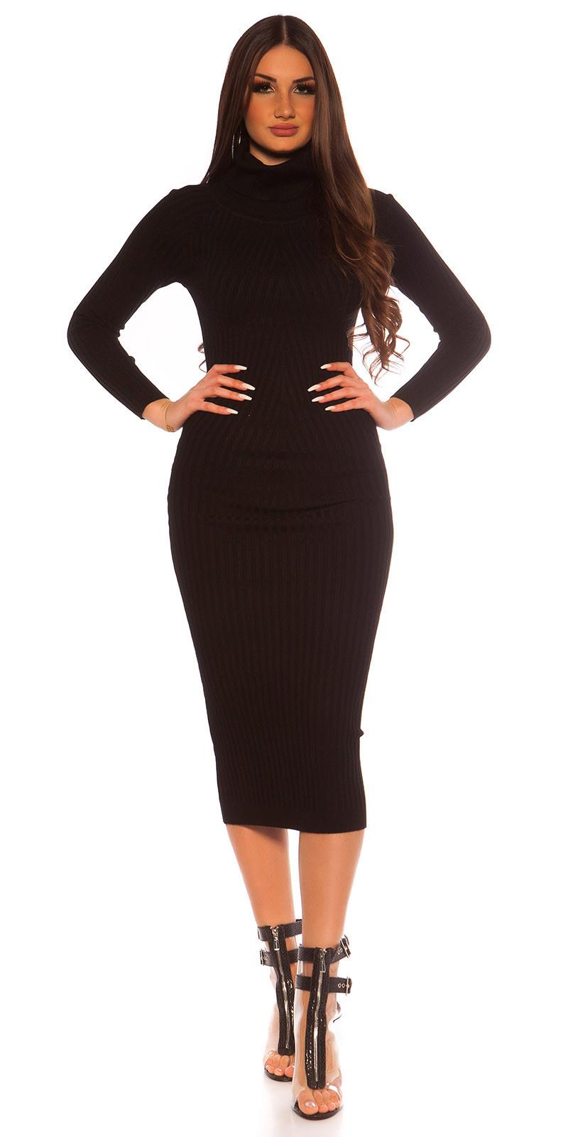Sexy langmouw col gebreide jurk zwart