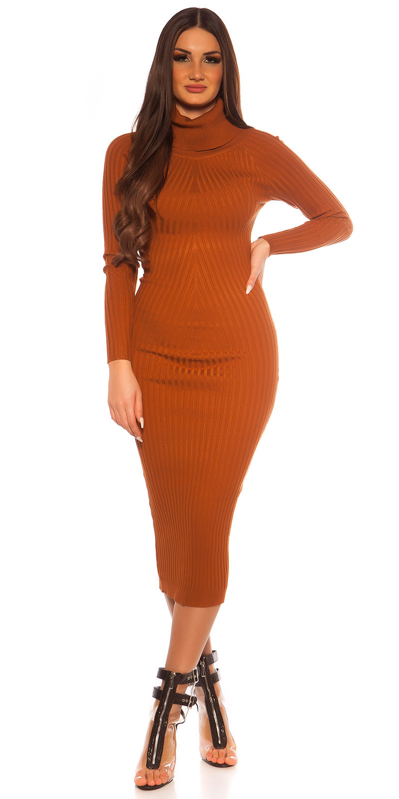 Sexy Longsleeve Turtleneck Knit dress Bronze