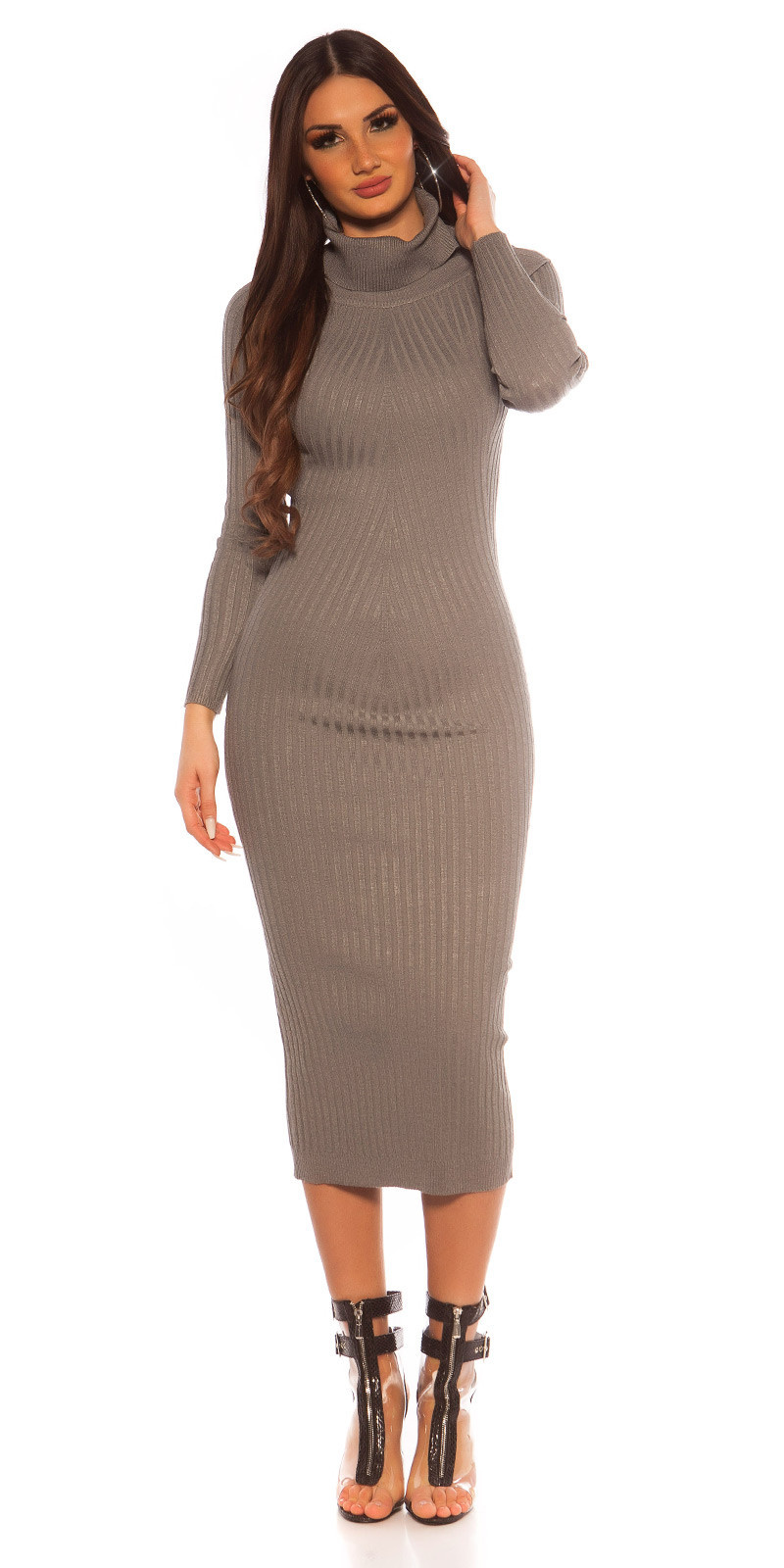 Sexy Longsleeve Turtleneck Knit dress Grey