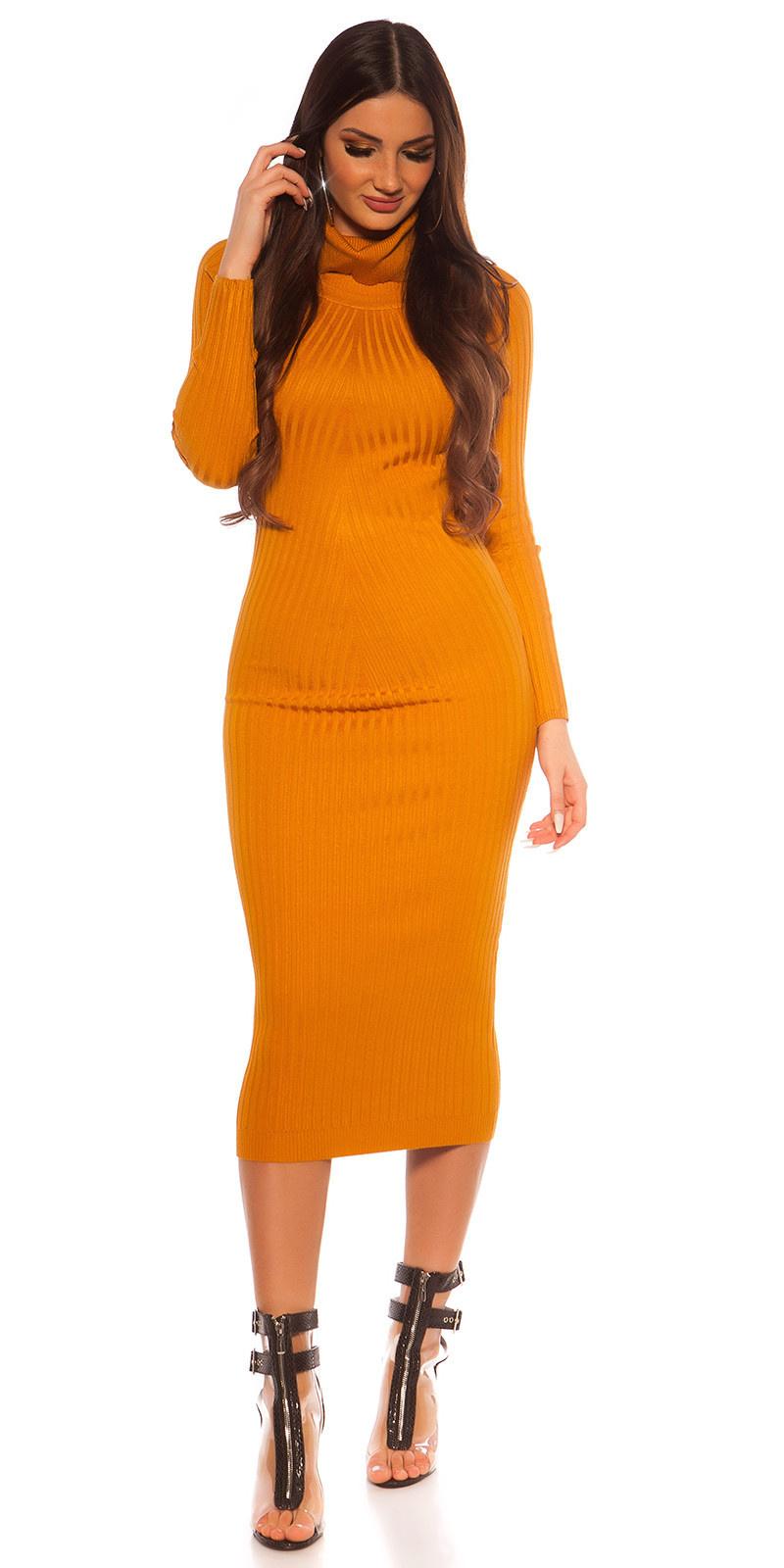 Sexy langmouw col gebreide jurk mosterdgeel