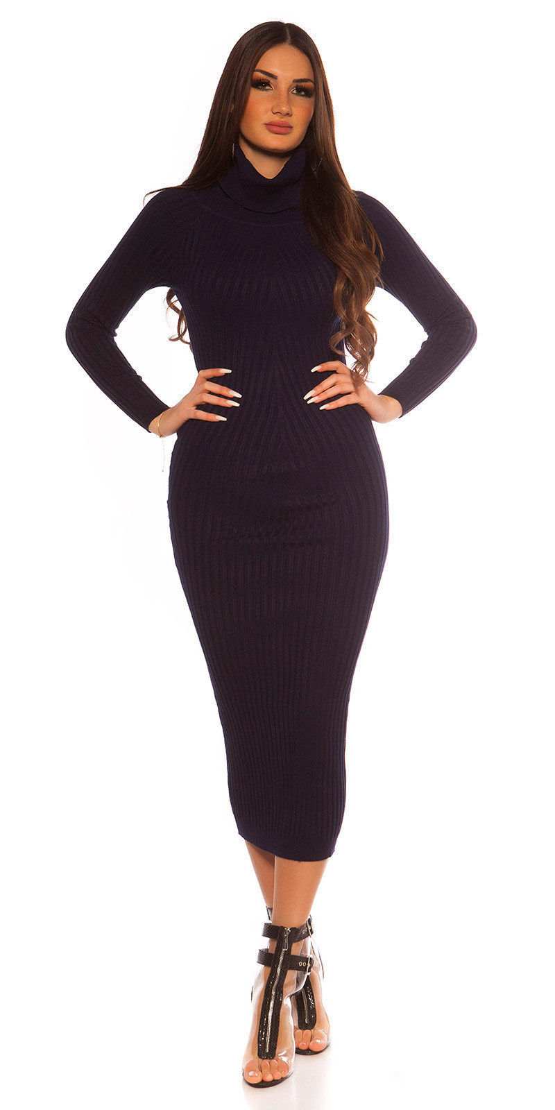 Sexy Longsleeve Turtleneck Knit dress Navy