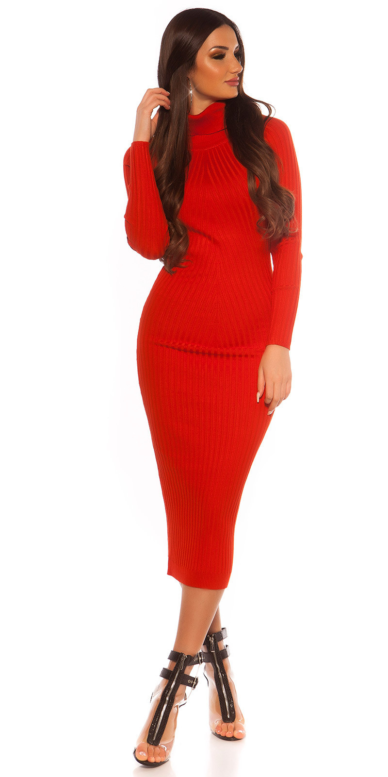 Sexy Longsleeve Turtleneck Knit dress Red