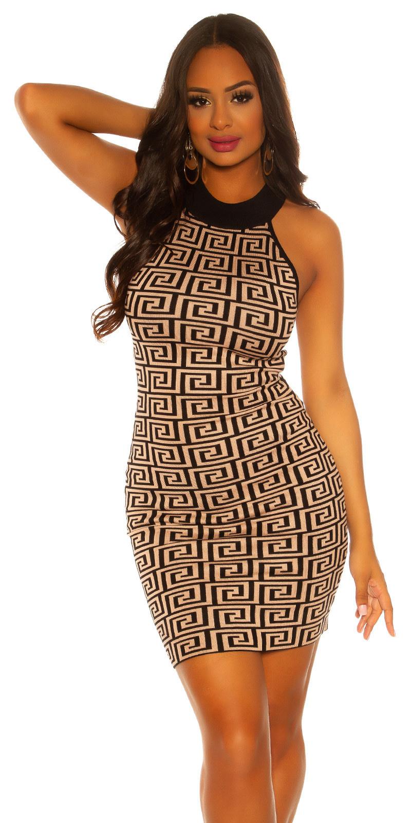 Sexy knit neck dress Blackbeige