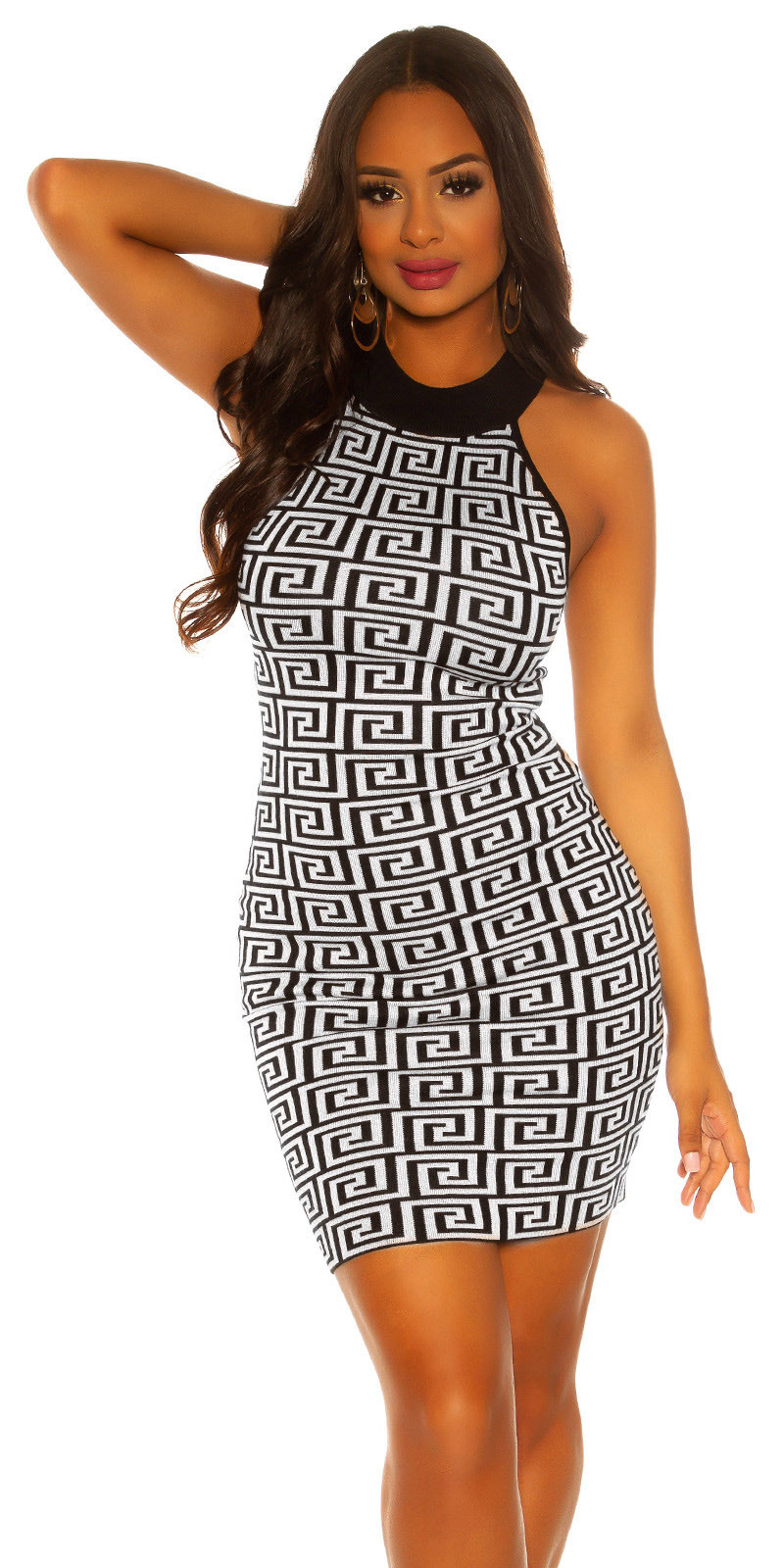 Sexy knit neck dress Blackwhite