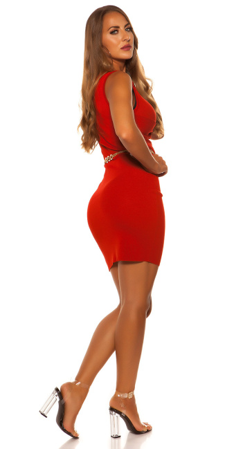 Sexy sleeveless knit dress Red