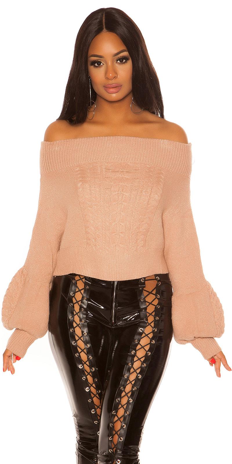 Sexy blote schouder gebreide trui met kabel stitch beige