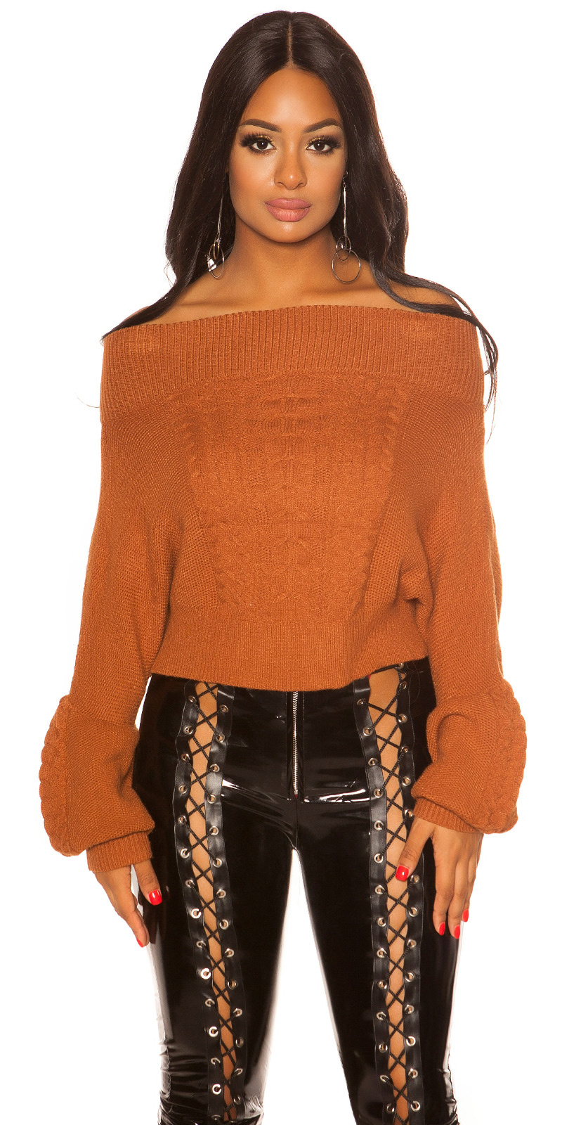 Sexy Cold Shoulder knit jumper with cable stitch Bronze