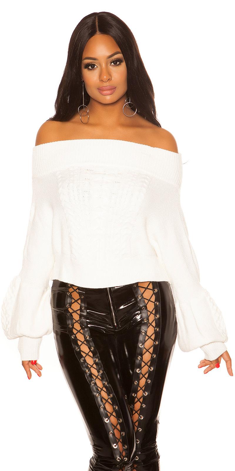 Sexy blote schouder gebreide trui met kabel stitch wit