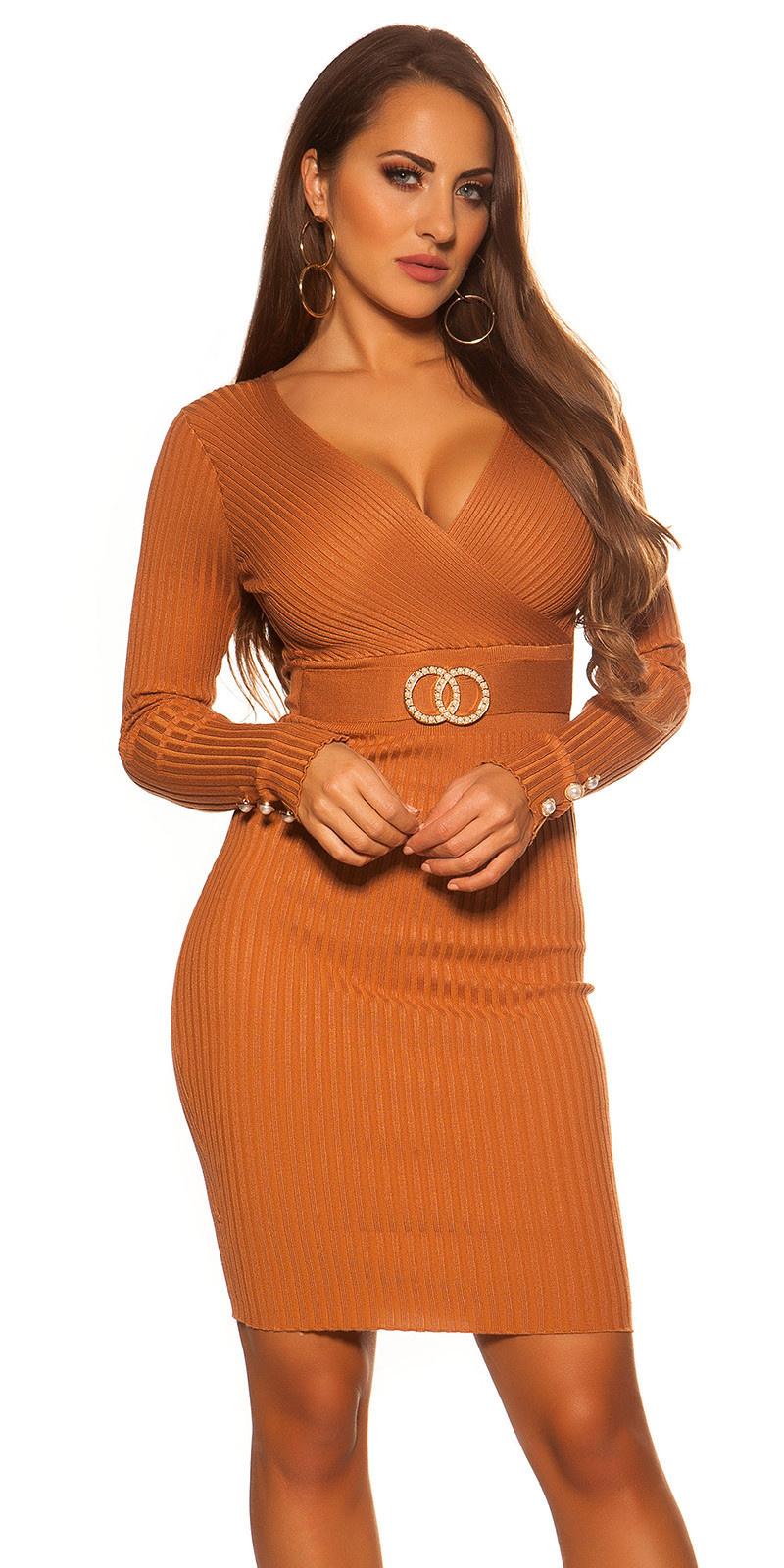 Sexy Knitdress with V-Neck Bronze