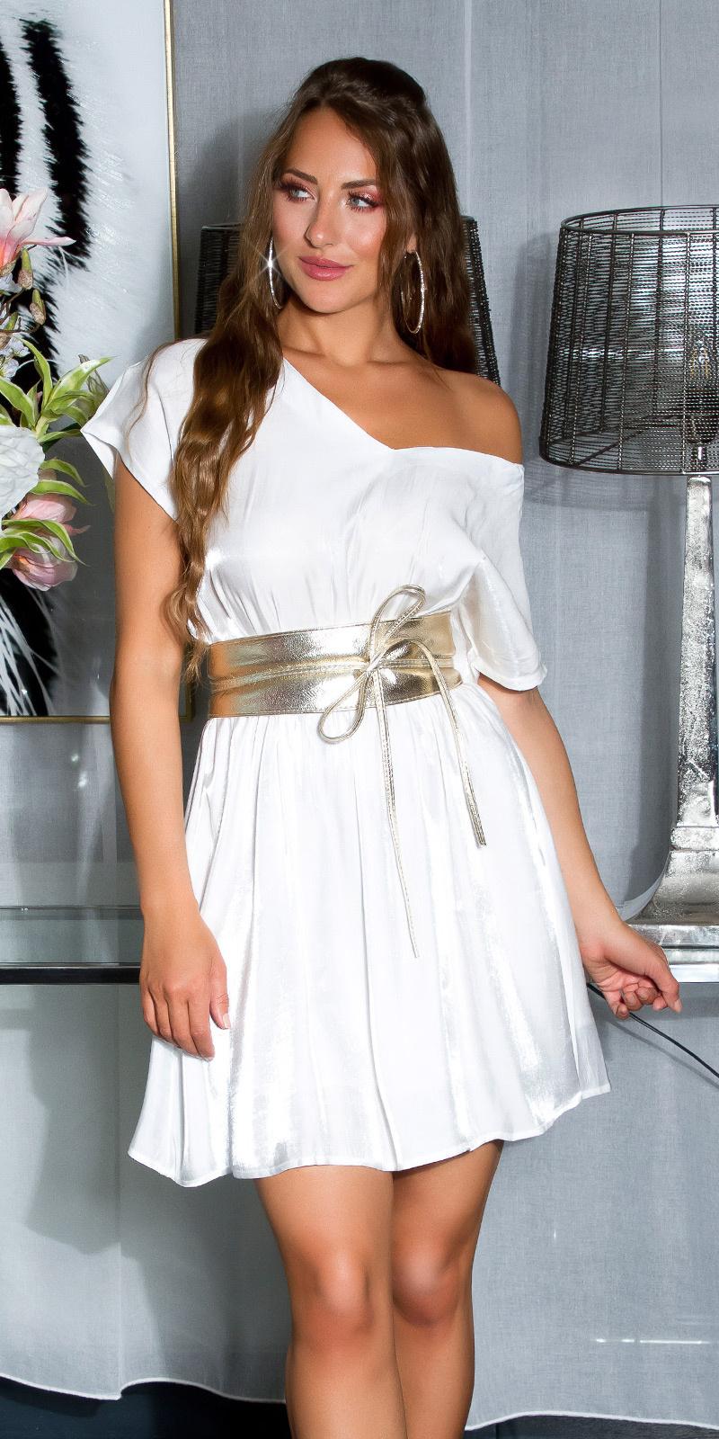 Shiny mini jurkje met sexy rug details wit