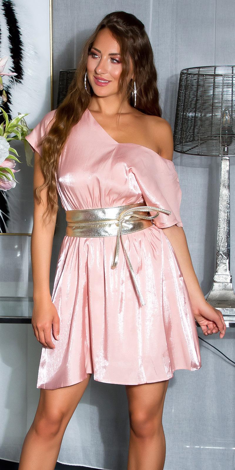 Shiny mini jurkje met sexy rug details roze