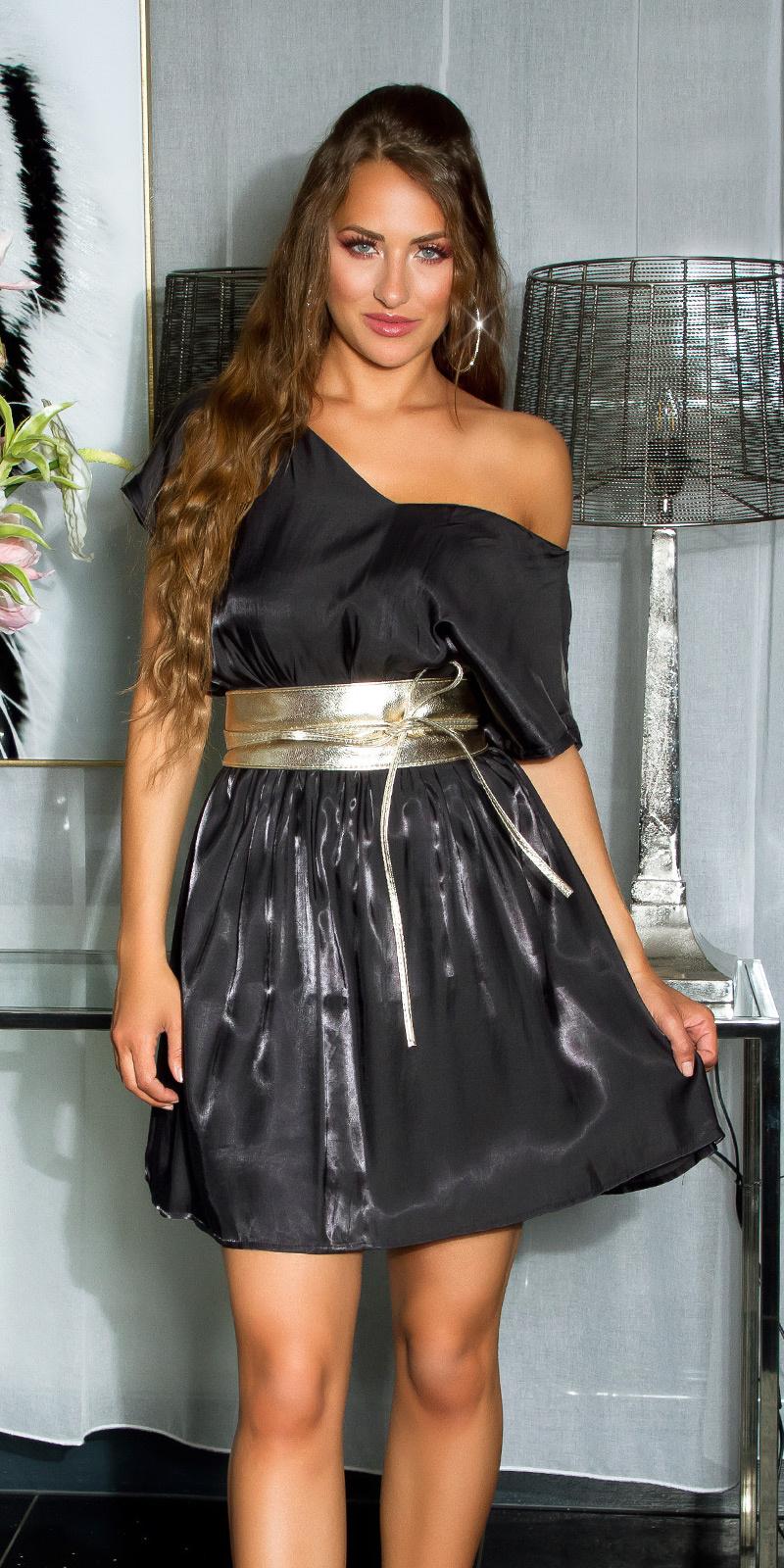 Shiny mini jurkje met sexy rug details zwart