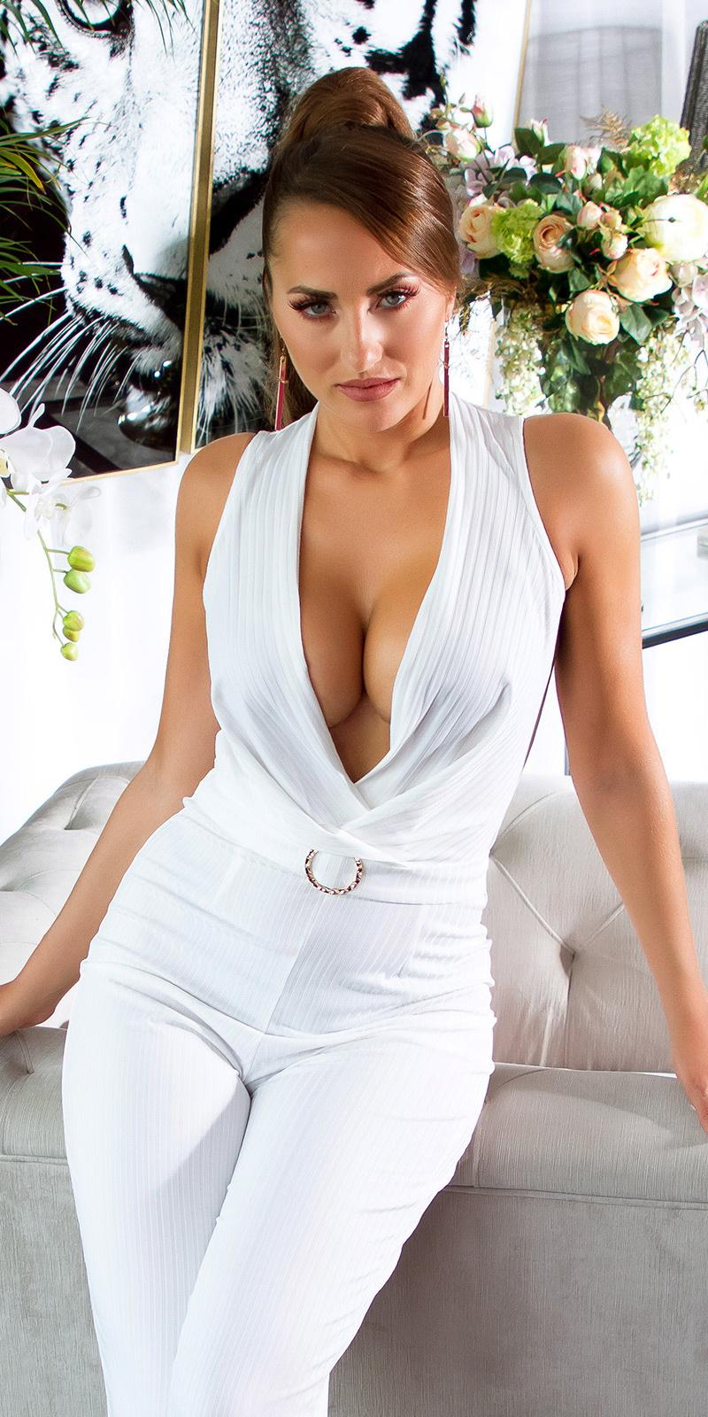 Sexy overall met riem wit