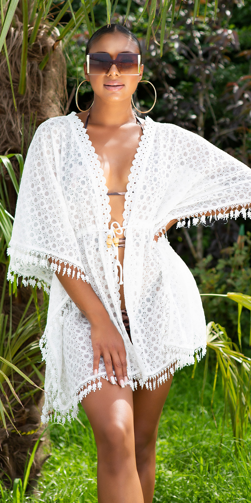 Sexy boho strand cover up wit