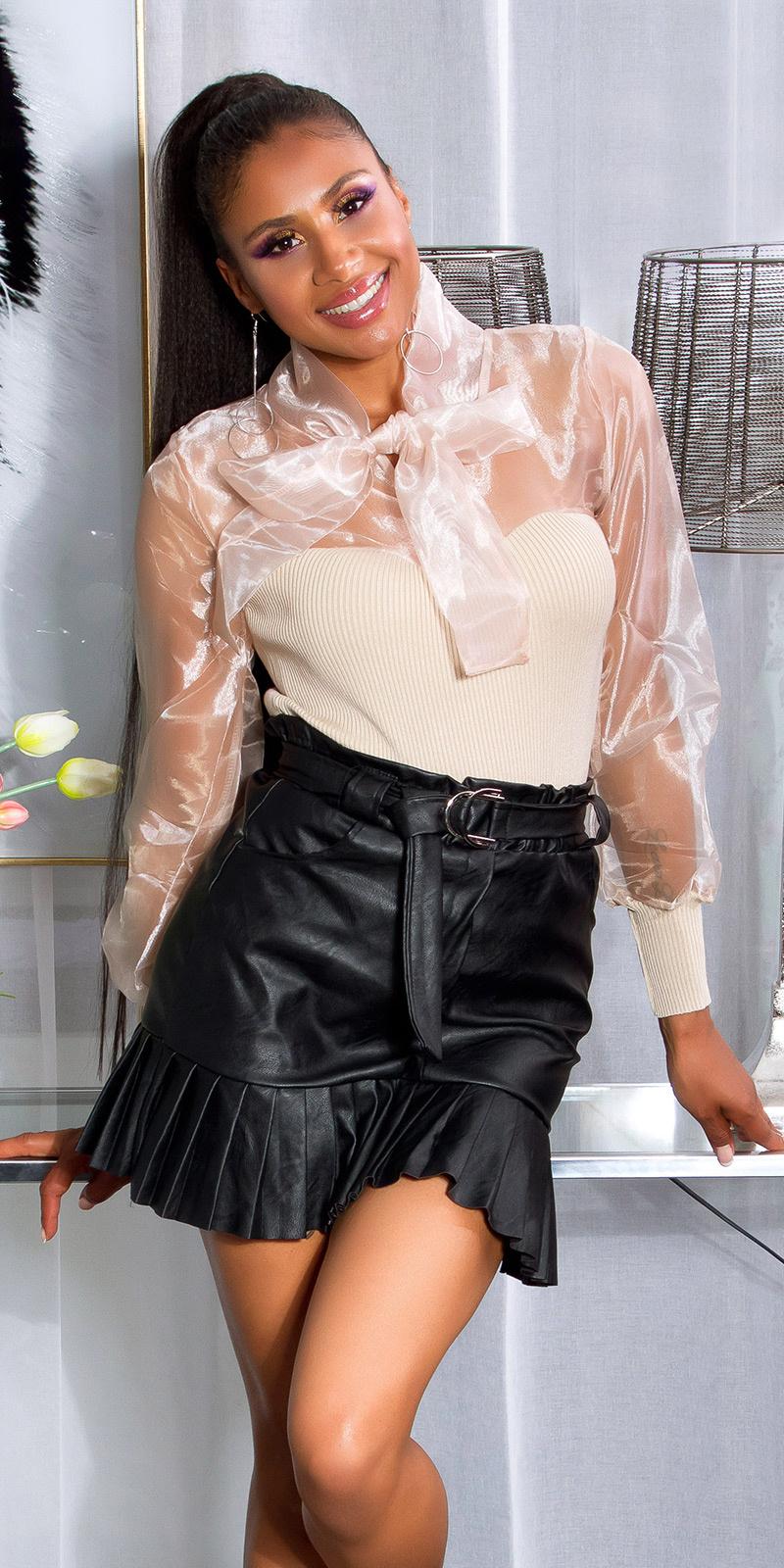 Sexy gebreide blouse met strik beige