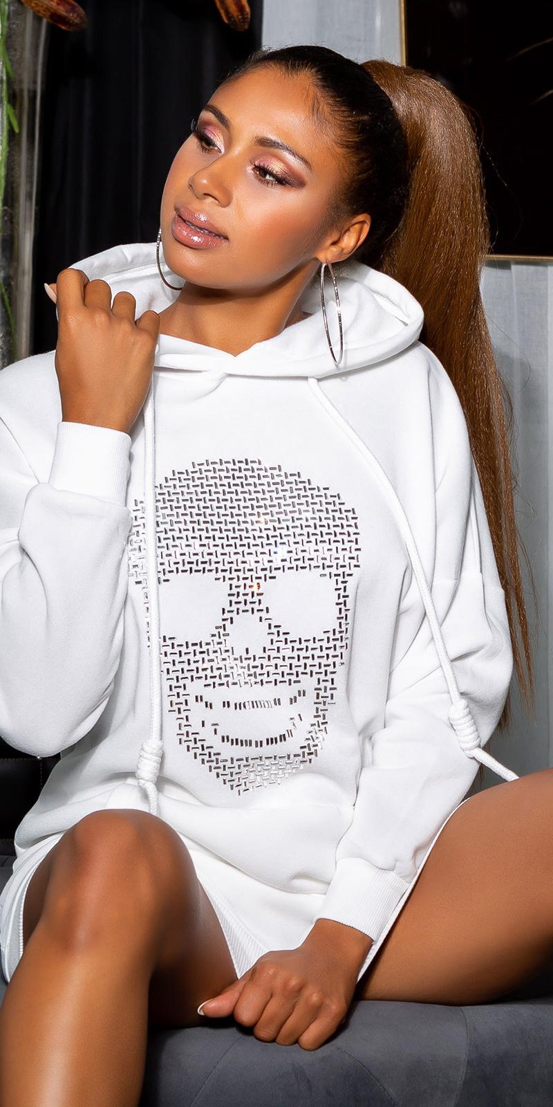 Sexy sweatshirt jurk met sparkling skull wit