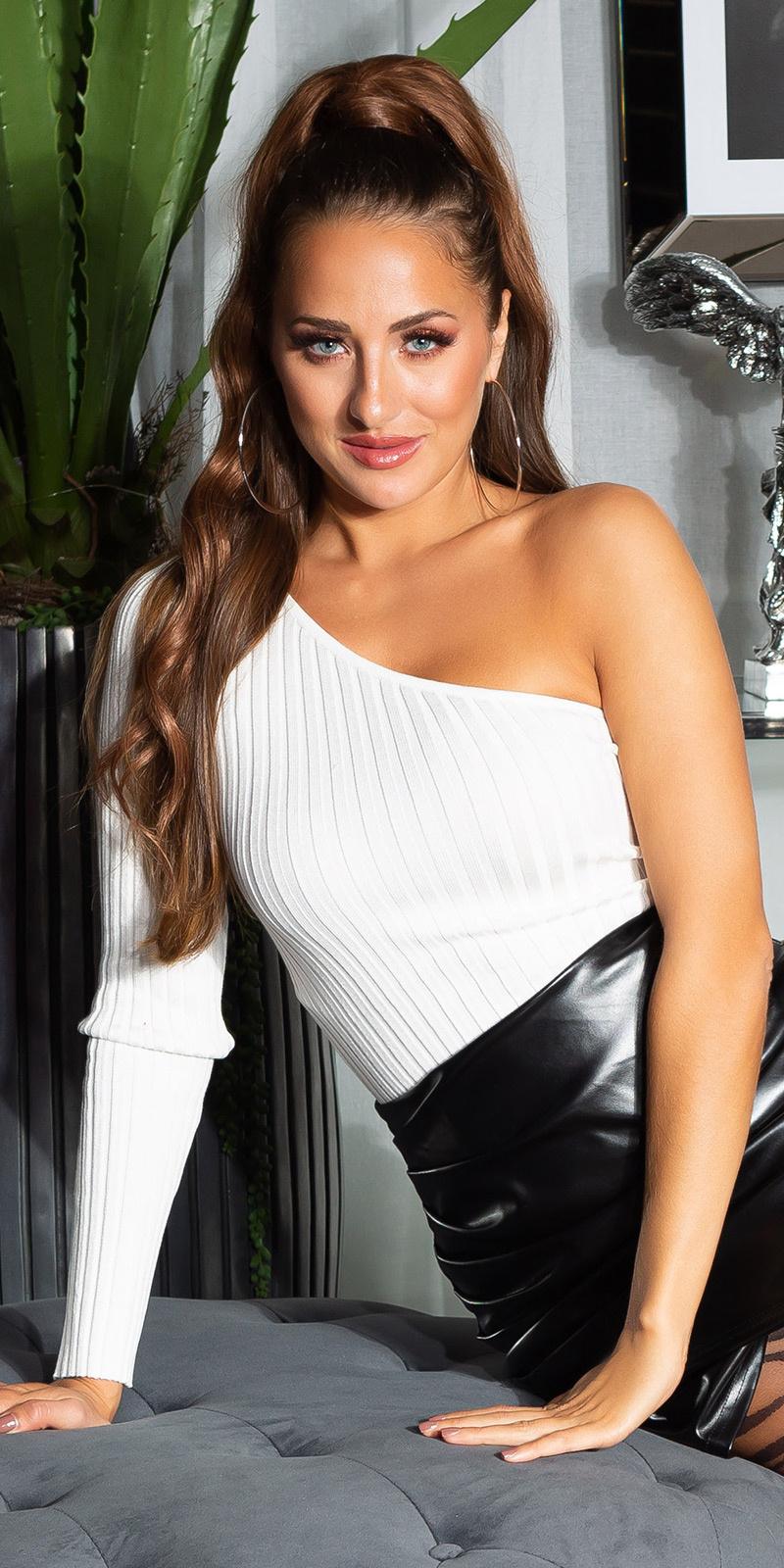 Sexy geribbelde een-schouder sweater-trui wit