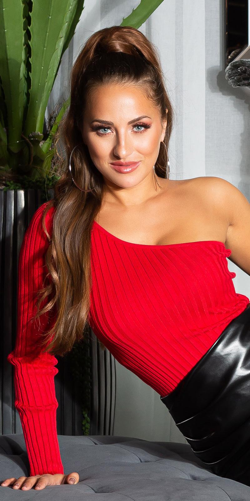 Sexy geribbelde een-schouder sweater-trui rood