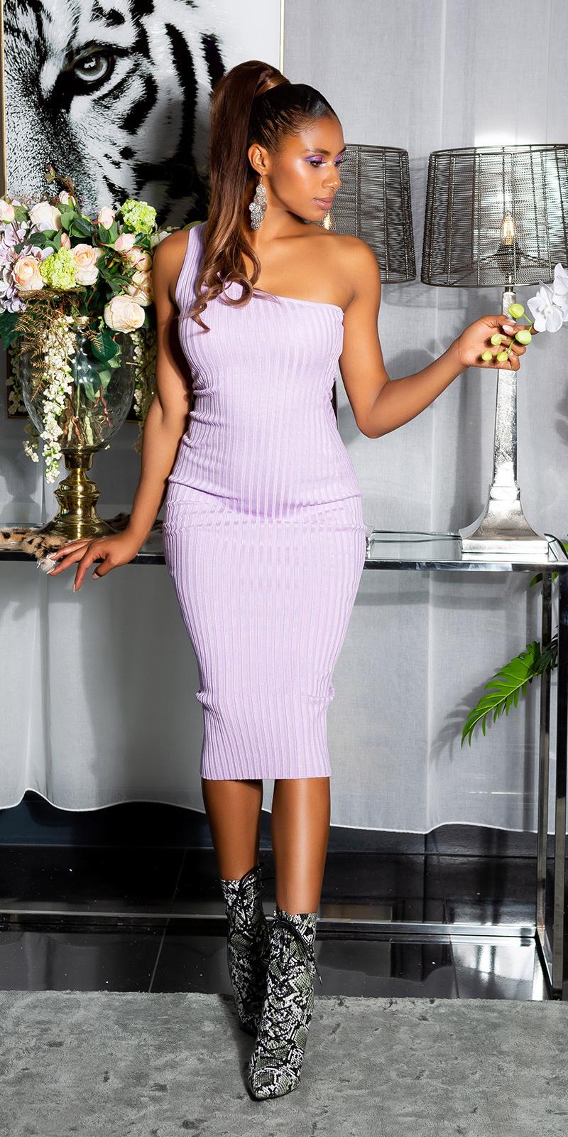 Sexy fijn gebreide een-schouder midi jurk lila