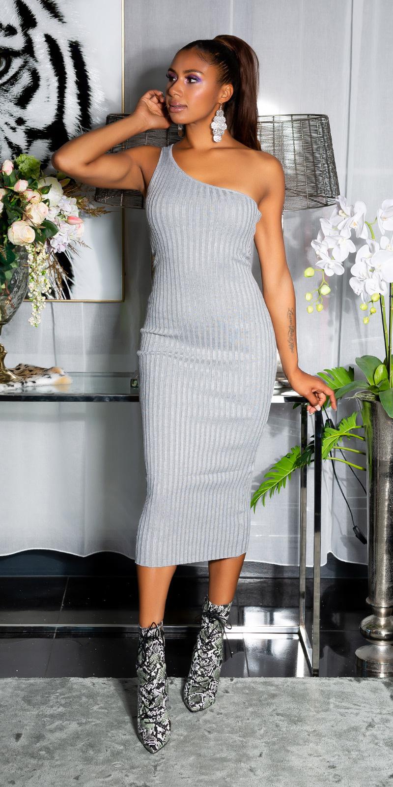 Sexy fijn gebreide een-schouder midi jurk grijs