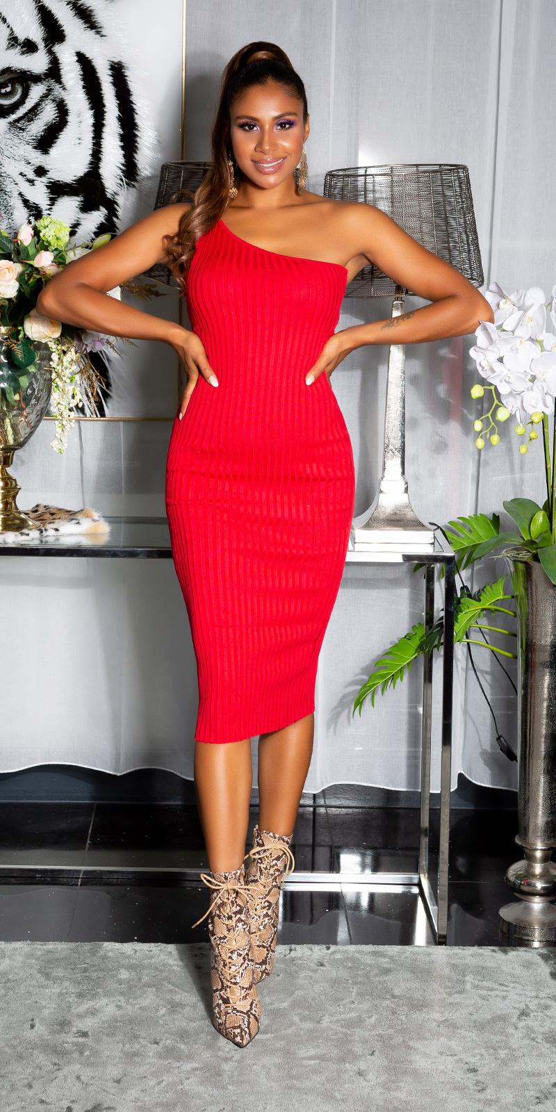 Sexy fijn gebreide een-schouder midi jurk rood