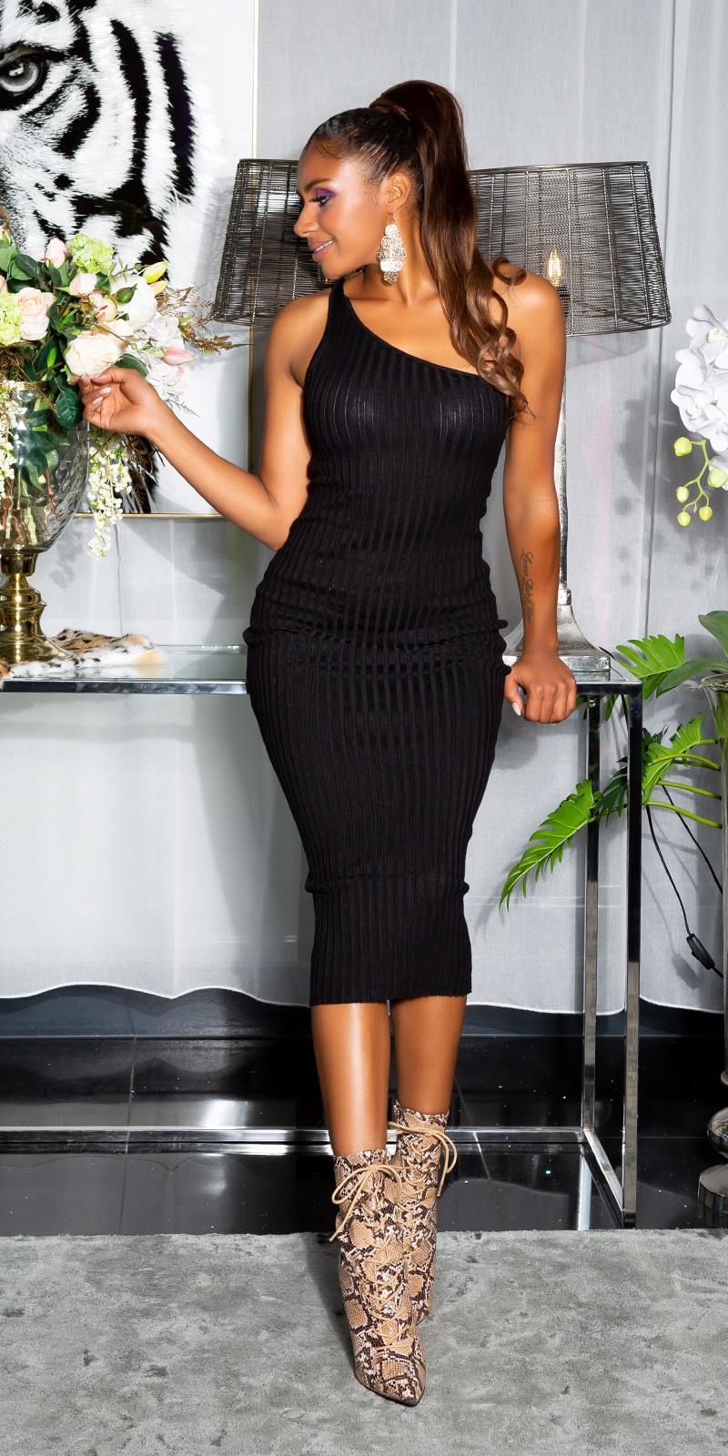 Sexy fijn gebreide een-schouder midi jurk zwart