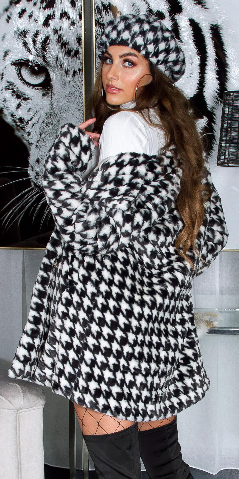 Trendy cozy pied-de-poule mantel zwart