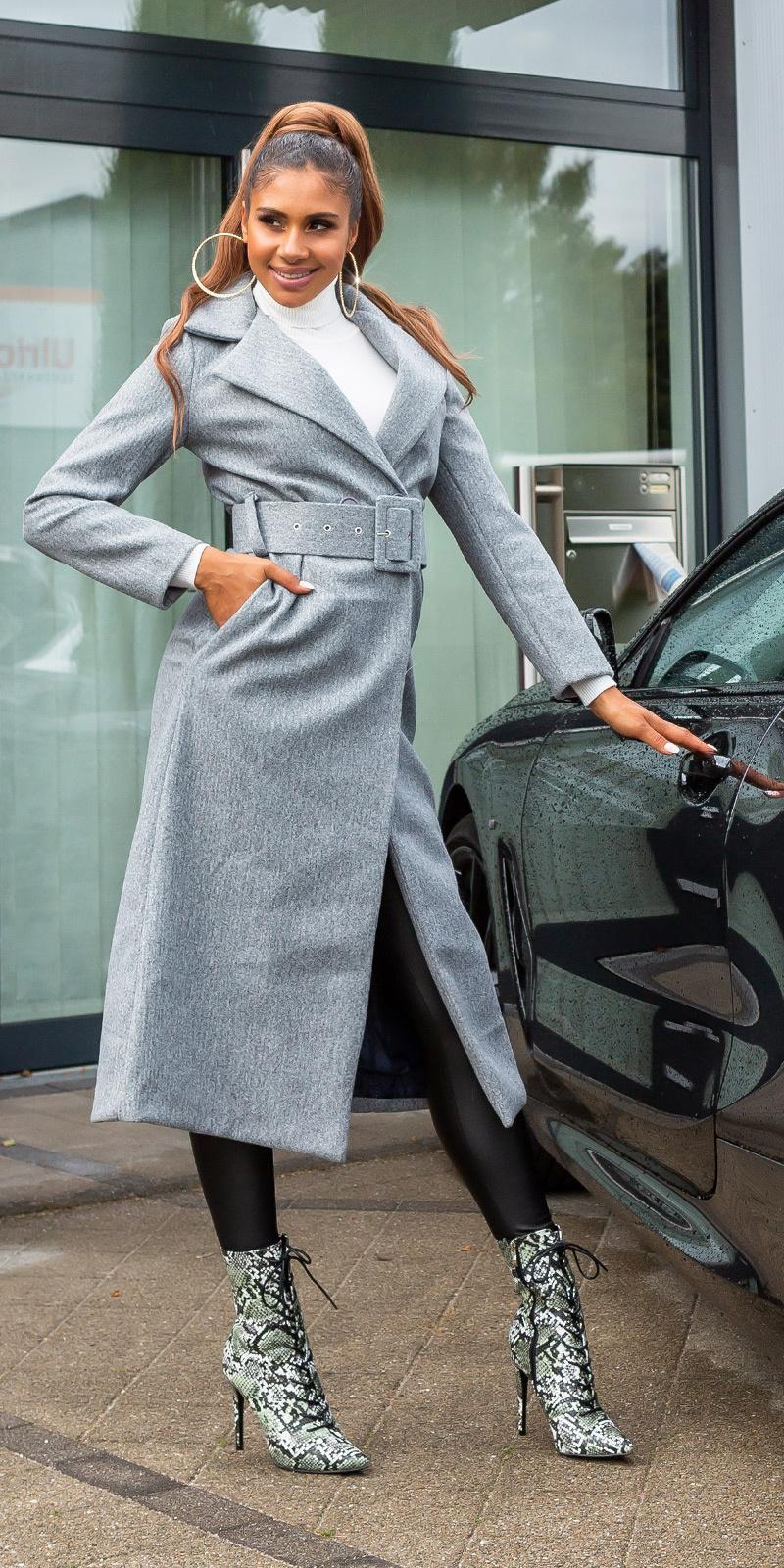 Trendy lange mantel met riem grijs