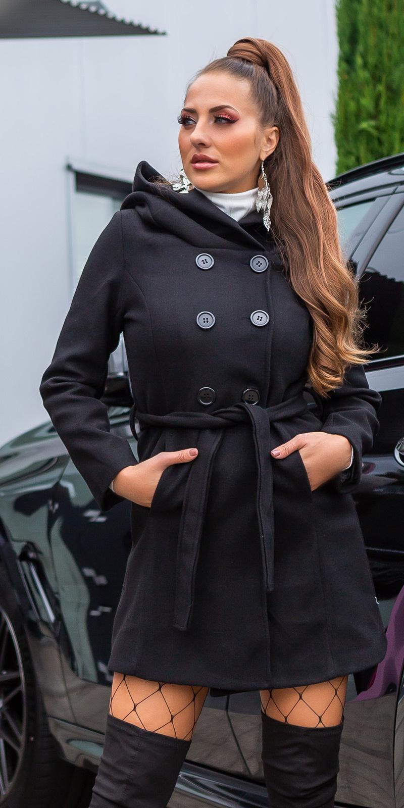 Sexy mantel met capuchon en riem zwart