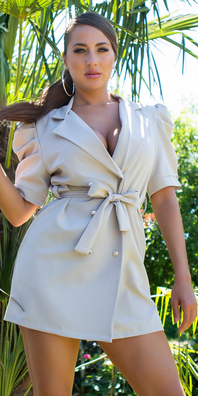 Sexy blazer jurk met puff mouwen beige